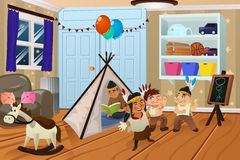 Kids Playing in the Bedroom. A vector illustration of kids playing native American in the bedroom Royalty Free Stock Photography