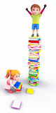 Kids playing with books Royalty Free Stock Photo
