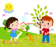 Kids playing with bubbles. Illustration art Royalty Free Stock Images