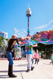 Kids playing with bubbles in the park, Sydney, Australia Royalty Free Stock Image