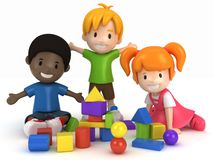 Kids Playing Building Blocks Royalty Free Stock Photo