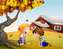 Kids playing with the butterflies near a big tree Royalty Free Stock Photo