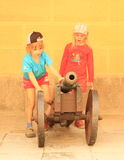 Kids playing with cannon Royalty Free Stock Images