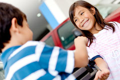 Kids playing with car keys Royalty Free Stock Photo