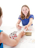 Kids playing card game Royalty Free Stock Photography