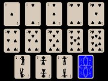 Kids playing cards - spades. Over black background, abstract vector art illustration Stock Photos
