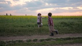 Kids are playing catch-up, happy children are having fun, slow motion, little girl and boy cross, sisters and brother stock video footage