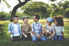 Kids Playing Cheerful Park Outdoors Concept Royalty Free Stock Photo