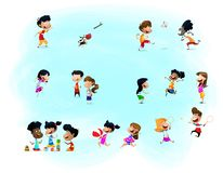 Kids Playing Cheerful Park Outdoors Concept. Vector vector illustration