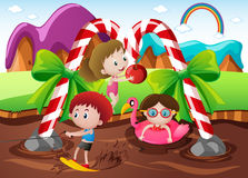 Kids playing in chocolate river in land. Illustration Royalty Free Stock Photo