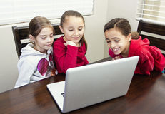 Kids playing on the computer stock photography