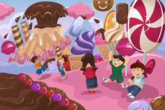 Kids Playing in a Dessert Land. A vector illustration of happy kids playing in a dessert land Royalty Free Stock Images