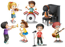 Kids playing different instruments Stock Photography