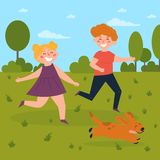 Kids playing with dog in the park. Boy and girl royalty free illustration
