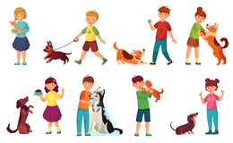 Kids playing with dogs. Child feeding dog, pet animals care and kid walking with cute puppy cartoon vector illustration vector illustration