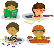Kids playing and doing activities Stock Photo