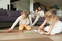 Kids Playing Drawing At Home, Family Spending Leisure Time Toget Royalty Free Stock Photo