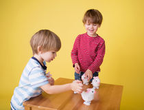 Kids playing with Easter Bunny Toys Stock Image
