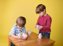 Kids playing with Easter Bunny Toys Royalty Free Stock Image