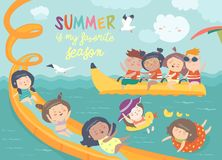 Kids playing and enjoying at waterpark in summer vacation. Vector design of kids playing and enjoying at waterpark in summer vacation Stock Image