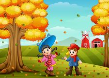 Kids playing in farm landscape at autumn. Illustration of Kids playing in farm landscape at autumn Royalty Free Stock Photos