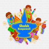 Kids playing with firecracker in Diwal. Easy to edit vector illustration of kids playing with firecracker in Diwali background with message meaning Happy Stock Images