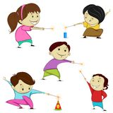 Kids playing with firecracker. Easy to edit vector illustration of kids playing with firecracker in Diwali Royalty Free Stock Images