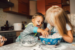 Kids is playing with flour Stock Photography
