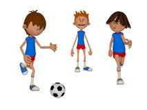 Kids playing football. 3d illustration of three  happy boys Stock Photo