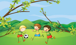 Kids playing football vector illustration