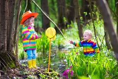 Kids playing with frog. Children playing outdoors. Two preschooler kids catching frog with colorful net. Little boy and girl fishing in a forest river in summer Stock Photos