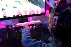 Kids playing game addiction royalty free stock photos