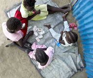 Kids playing games in Africa Stock Image