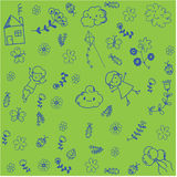 Kids playing in garden doodle art Stock Photography
