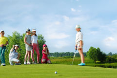 Kids playing golf Royalty Free Stock Image
