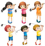 Kids playing golf royalty free illustration