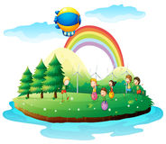 Kids playing in the ground. Illustration of kids playing in the ground on a white background Royalty Free Stock Photos