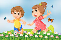 Kids playing happily at the garden in the hilltop Stock Image