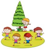 Kids Playing Hide and Seek in Park. Illustration Stock Photos