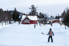 Kids playing hockey royalty free stock photography