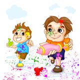 Kids playing Holi Festival Royalty Free Stock Images