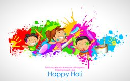 Kids playing Holi. Illustration of kids playing Holi with color and pichkari stock illustration