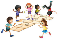 Kids playing hopscotch in the field. Illustration Royalty Free Stock Photos