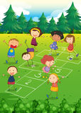 Kids playing hopscotch in the park. Illustration Stock Image