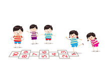 Kids playing hopscotch in a playground. Little Children happy playing illuttration vector illustration