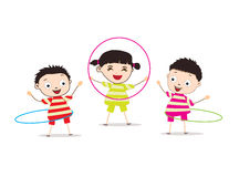 Kids Playing,Hula Hoop. Little Children happy playing illuttration Stock Photography
