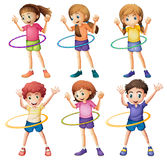 Kids playing hulahoop royalty free illustration