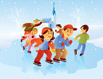 Kids Playing Ice Skating Stock Photo