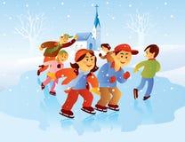 Kids Playing Ice Skating Stock Photo