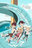 Kids Playing In Water Slides Stock Image